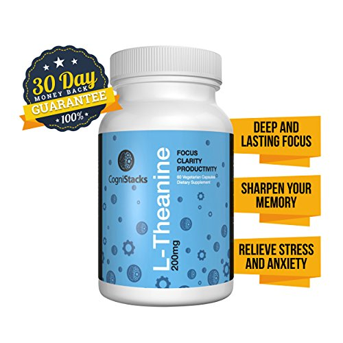 L-Theanine, 100% Natural Nootropic Supplement, 60 200mg Veg Capsules for Enhanced Cognitive Functioning – Improve Your Focus, Concentration and Memory, Reduce Stress and Anxiety – FDA Approved – Made in the USA with Highest Quality All-Natural Ingredients – 30 Day 100% Money Back Guarantee
