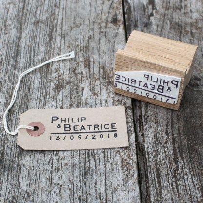 personalised wedding favour rubber stamp