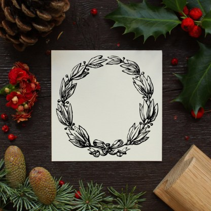 christmas wreath rubber stamp design