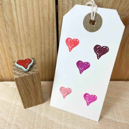 rubber stamp of a hand-drawn love heart