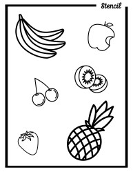 Variety of Fruits Outline Templates Stencil