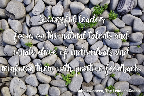 Successful leaders focus on the natural talents and innate talents of individuals and reinforce them with positive feedbakc.