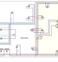 as an illustrative example we use a ready made simple wiring diagram in a one room apartment  [ 1261 x 773 Pixel ]
