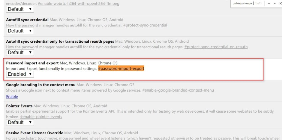 enable password export in google chrome