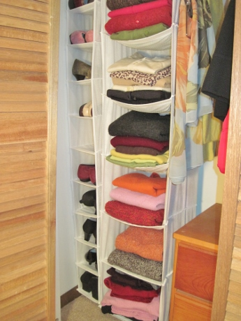 Sweaters (and shoes) are now stowed handily.