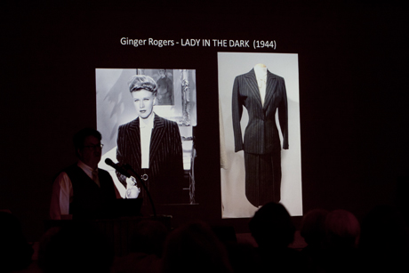 "Ginger Rogers playing an attorney in a early version of the ""power suit."""
