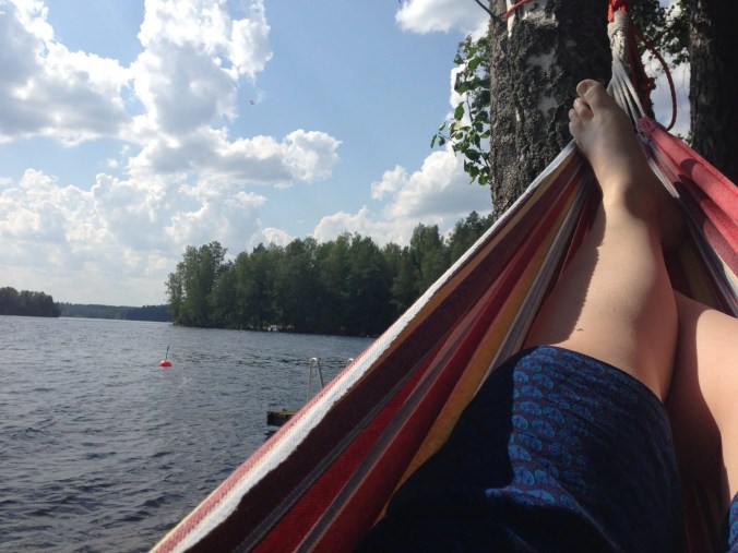 In the hammock on the lake in Finland.