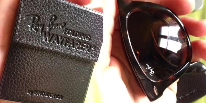 Folded Ray-Ban Wayfarers with case.