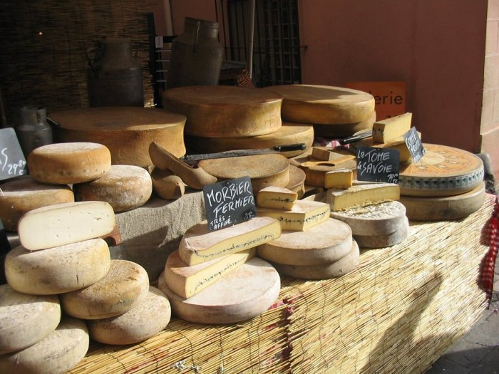 Cheese stand at a French festival in Valbonne, 2008
