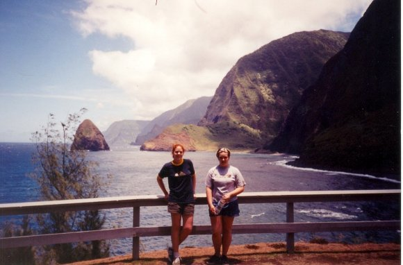 Me, Kelsey, and the impressive sea cliffs of Molokai. (Hoooo-leeee crap, look at how young we are.)