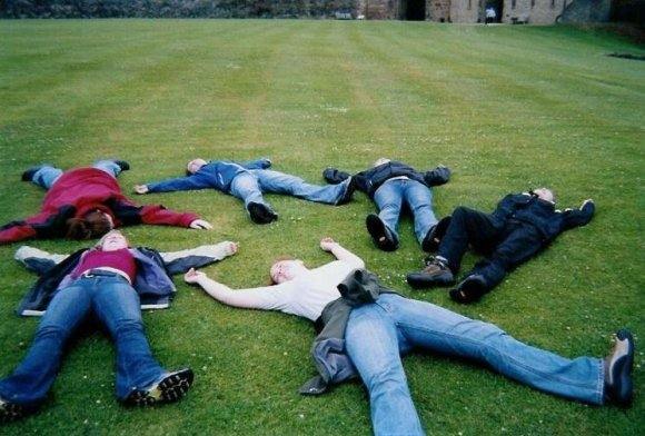 Exhausted on the lawn of Richmond Castle.