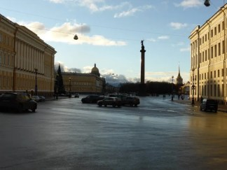 A brief bit of sun in Palace Square