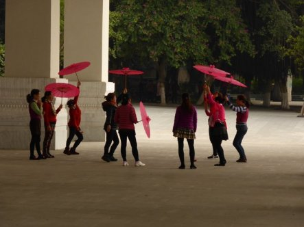 Umbrella dancing. Everyone's dancing!