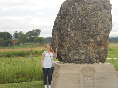 Becky Oakes, '13, next to the 20th Massachusetts monument