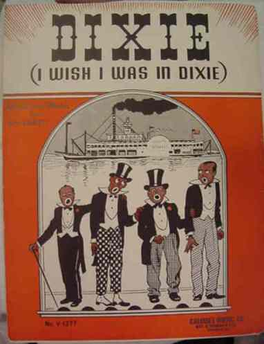 """Sheet music from the 1900s for 'Dixie,' showing four singers in blackface,"" Wikipedia Commons."