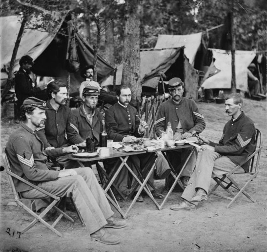 """""""Bealeton, Va. Noncommissioned officers' mess of Co. D, 93d New York Infantry,"""" Library of Congress."""