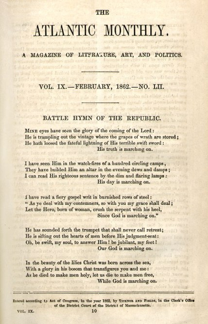 """Julia Ward Howe, """"The Battle Hymn of the Republic,"""" The Atlantic Monthly 9, no. 52 (February 1862): 10."""