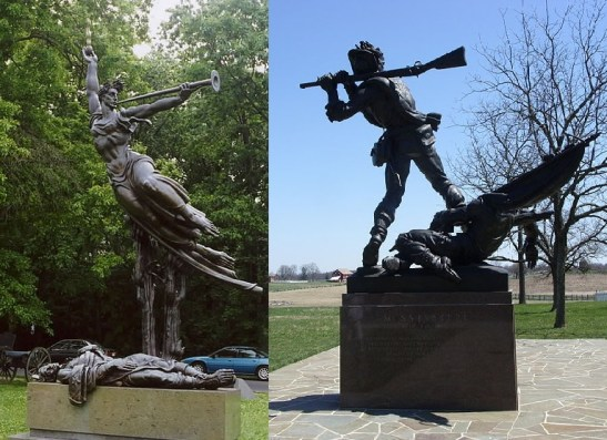 These two examples of Confederate monuments at Gettysburg feature wounded soldiers, but in each there is a focal point of another theme. In the Louisiana monument, the wounded soldier clutches his heart while Spirit Triumphant flies overhead. The Mississippi monument depicts a comrade standing over his fallen brother wielding his rifle as a club against oncoming attackers. Images courtesy of Wikimedia Commons.