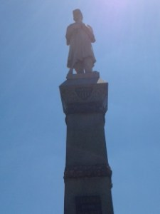 A view of the soldier perched atop Andersonville's New Jersey Monument. Photo credit Blake Altenberg.