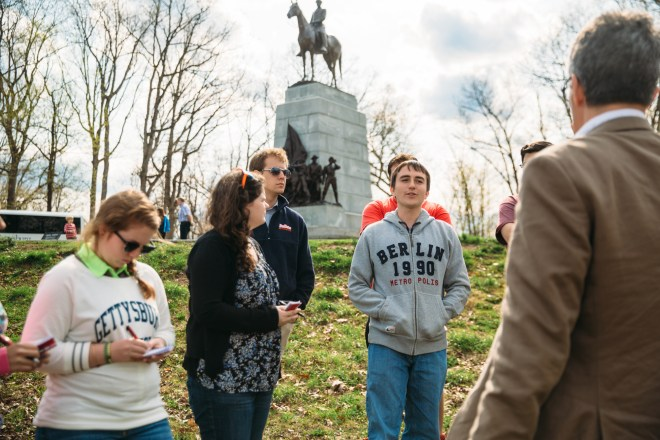 Dr. Pete Carmichael takes Pohanka interns around the Gettysburg battlefield.