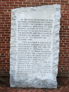 A memorial dedicated in 1931 by the Sons of Confederate Veterans to honor the memory of Heyward Shepherd, a free African American, and the first person to die in connection with John Brown's Raid. Photo credit Andrew Vannucci.