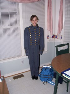 The author in her grandfather's VMI uniform. Photograph courtesy of Cathy Satterfield.