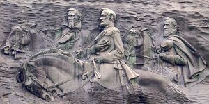 The Confederate Memorial at Stone Mountain, depicting a heroic Jefferson Davis, Robert E. Lee, and Stonewall Jackson: Heroes of the Confederate story, but of history? Photography courtesy of Jim Bowen, via Wikimedia Commons. 26 January, 2012.