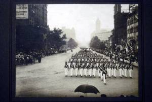 VMI Corps in full dress uniforms marching in Washington, D.C. on June 7, 1917. Photograph taken the day before the corps arrived in Gettysburg for the dedication of the Virginia monument. Photo via the VMI archives, http://digitalcollections.vmi.edu/cdm/singleitem/collection/p15821coll7/id/919/rec/17