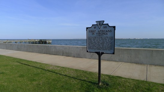This marker indicates that the first African Americans were brought here in 1619. Photo courtesy of the author.