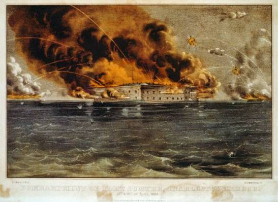 A hand-colored lithograph by Currier & Ives depicting the attack on Fort Sumter. Photo via Library of Congress