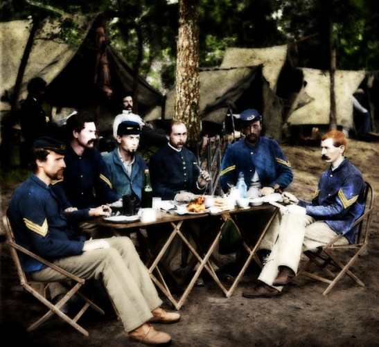 Photograph of the non-commissioned officers of Company D, 93rd New York Infantry, August 1863. Colorized by Grindguy, via DeviantArt.