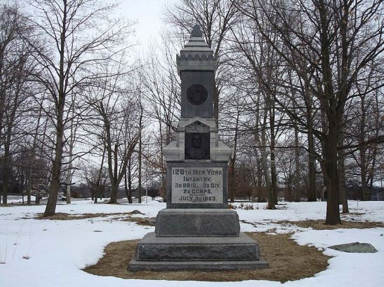 Monument to the 126th New York Infantry at Ziegler's Grove. Photo via Wikimedia Commons.