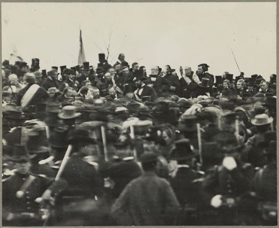 President Lincoln at the dedication of the Soldiers' National Cemetery, November 19th, 1863. Photo via Wikimedia Commons.