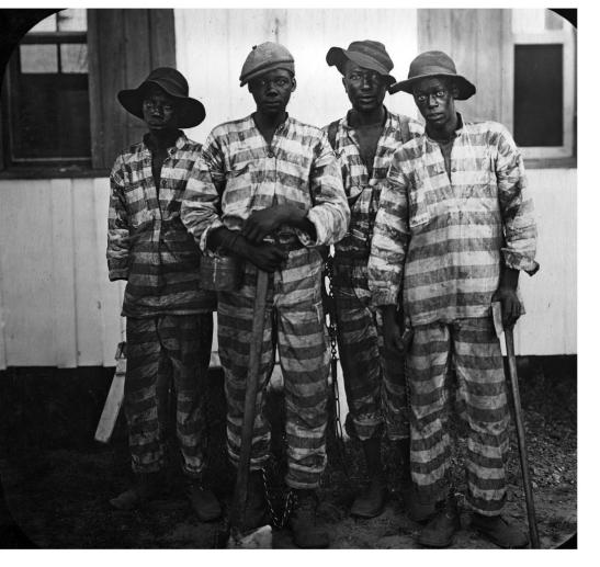 Convicts leased to harvest timber, 1915, Florida. Photo credit: The Hampton Institute/Photographer Unknown