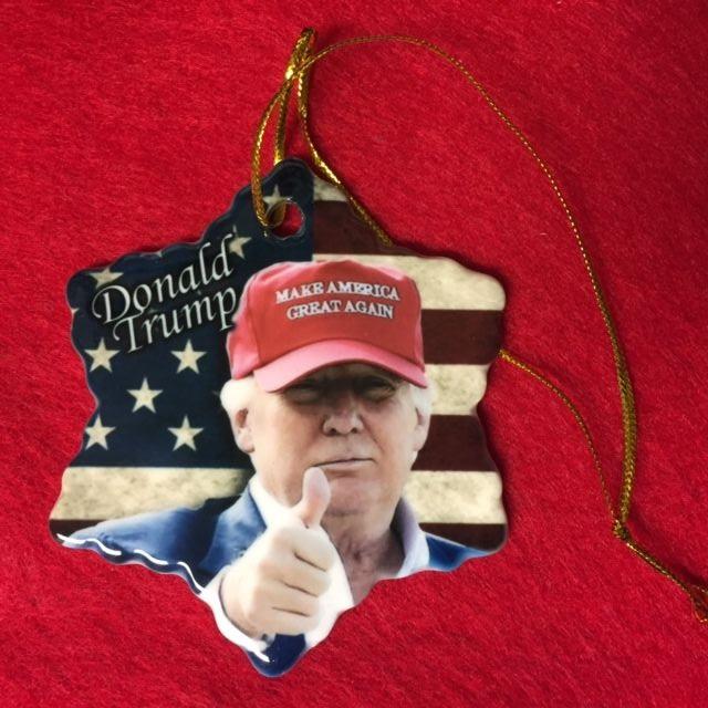 DONALD TRUMP MAKE AMERICA GREAT AGAIN PORCELAIN CHRISTMAS