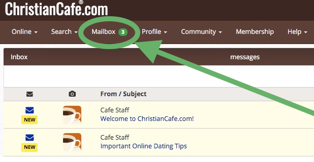 Christian Cafe dating site mailbox