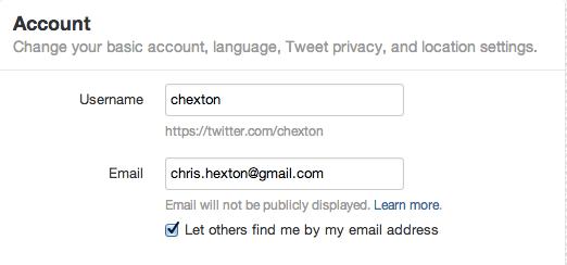 Twitter settings box