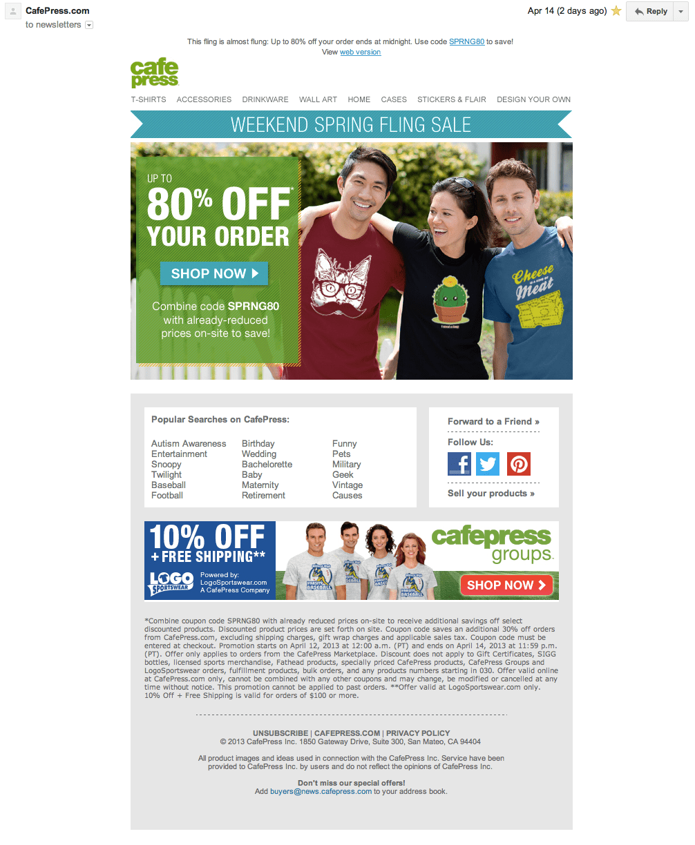 CafePress Email Marketing