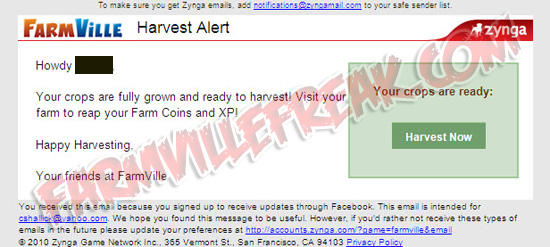 Your Crops Are Fully Grown Zynga Email