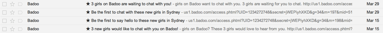 A/B test email subject Badoo