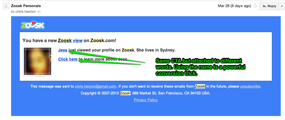 Zoosk email marketing
