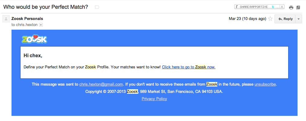 Zoosk Feature Email