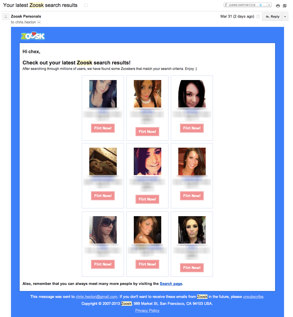 Zoosk Retention Email