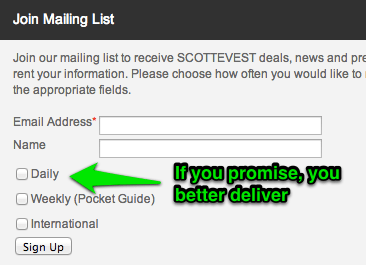 ScottEVest Email Marketing