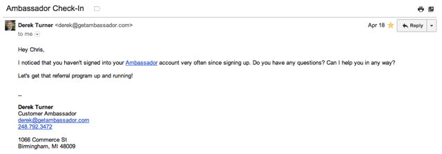 Ambassador Email Example