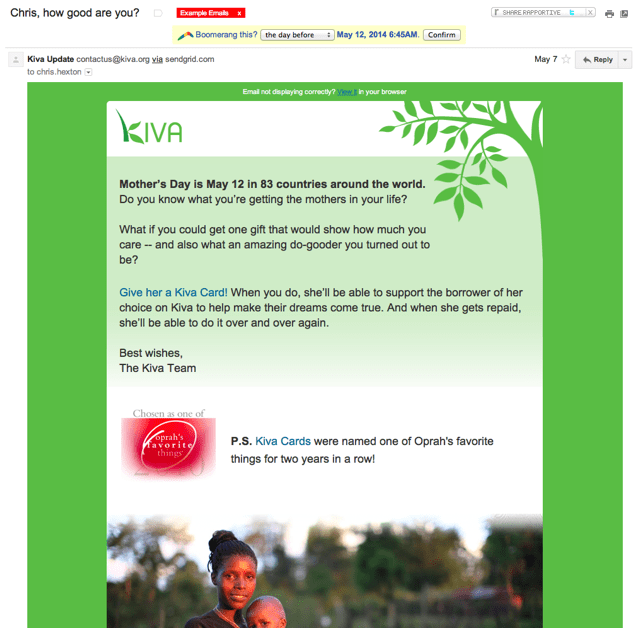 Kiva Mother's Day Example
