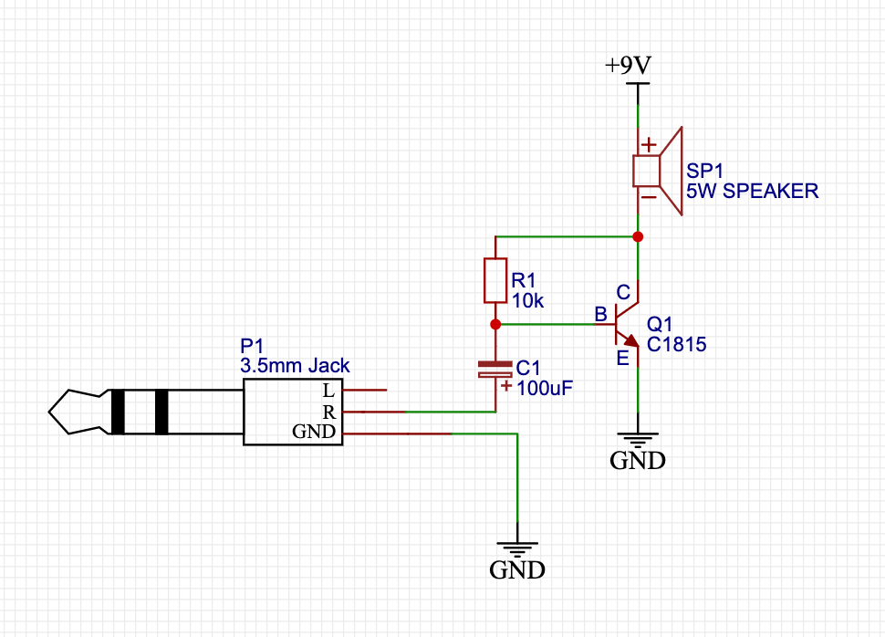 Simple 5W Audio Amplifier Circuit with C1815 NPN