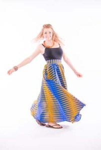 African print Long skirt with side pockets