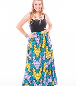 Long Wave Pattern Print Skirt