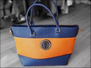 Large Blue and Orange Tote Bag